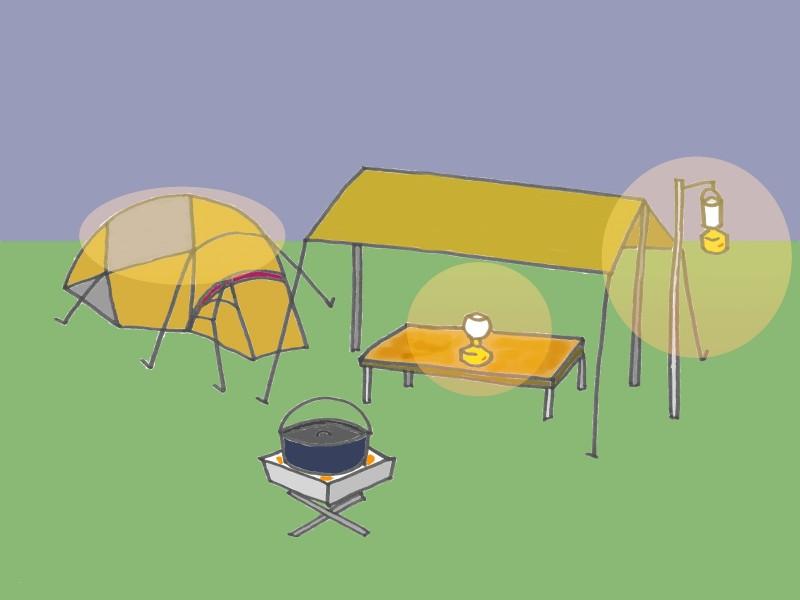 キャンプサイトとランタンのイラスト