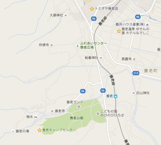 養老キャンプセンター付近の地図