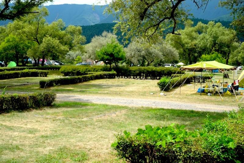 くのわき親水公園キャンプ場|区画サイトの様子