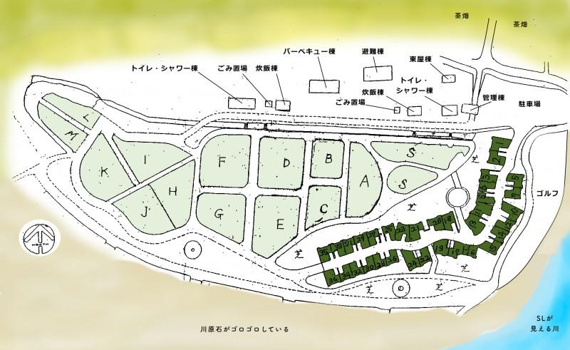 くのわき親水公園キャンプ場|サイト案内図