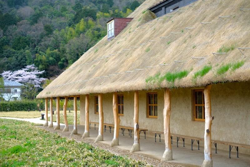 ラコリーナ近江八幡|メインショップの草屋根を支える柱