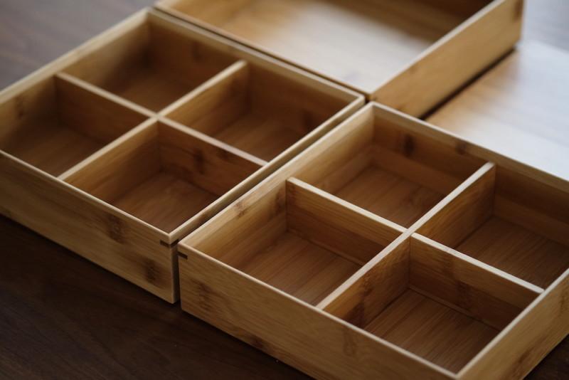 【天然竹製】七寸三段重(みよし漆器本舗)|仕切ったところ