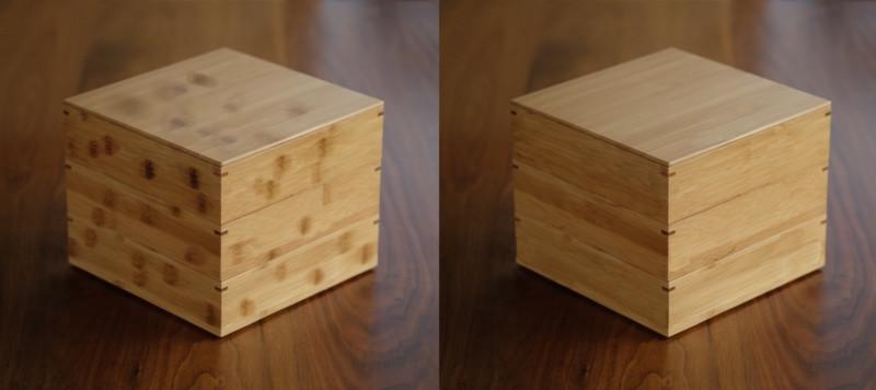 【天然竹製】七寸三段重(みよし漆器本舗)|節の量による比較