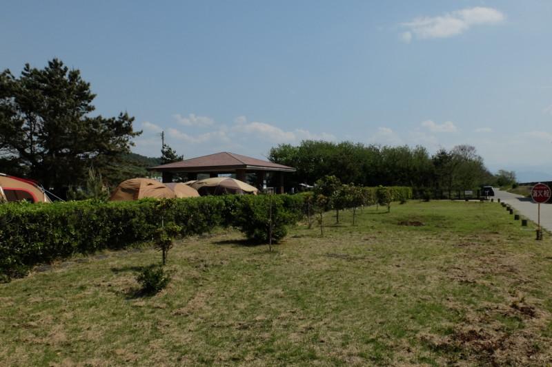 観音寺ファミリーキャンプ場|道路とキャンプサイトの間の芝生ゾーン