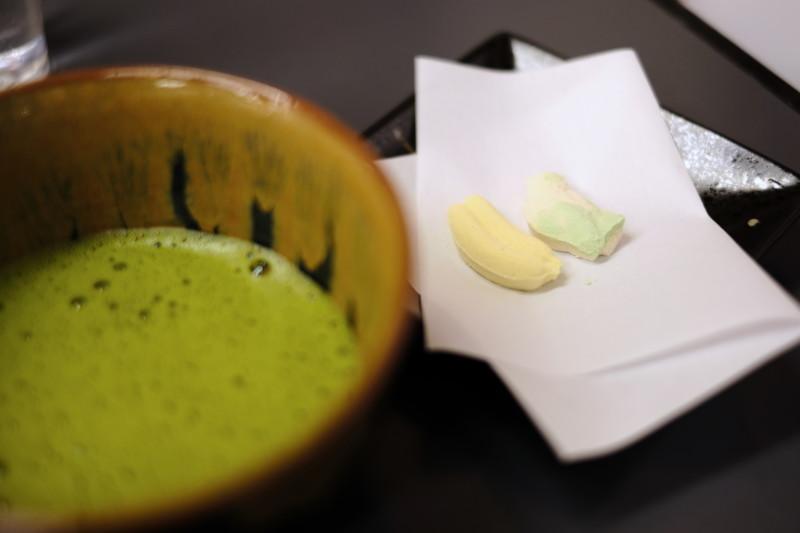和三盆の干菓子作り体験(にしきや)|出来上がりは、お抹茶とともに