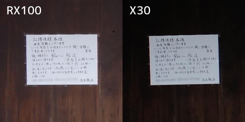 RX100とX30|解像力の違い