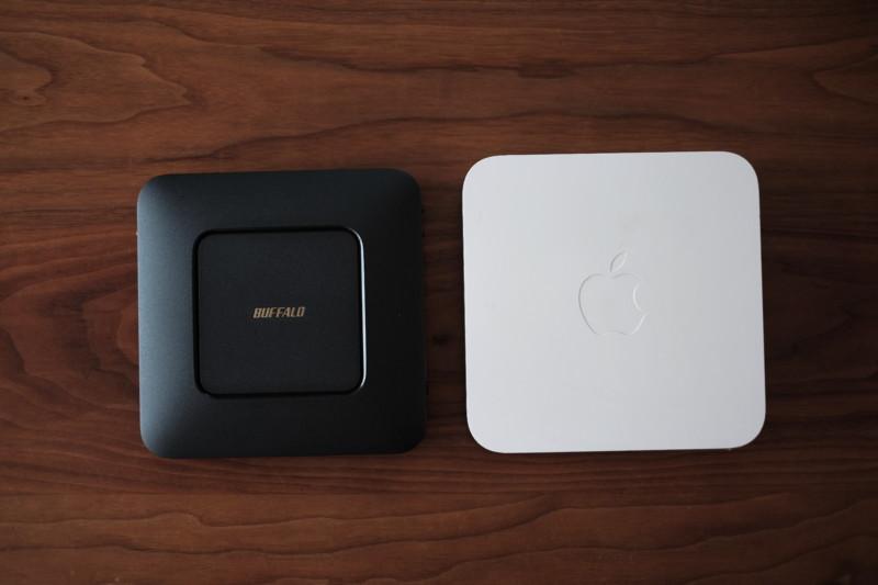AirMac第2世代(Apple)とWSR-2533DHP(バッファロー)
