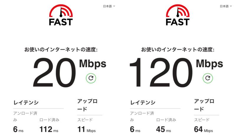 AirMac第2世代(Apple)とWSR-2533DHP(バッファロー)のWi-Fi速度比較