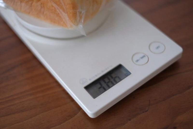 「乃が美(のがみ)」vs「一本堂」|乃が美の食パンの重さ