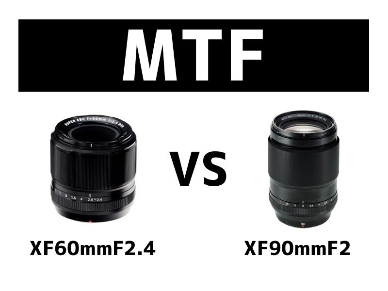 XF60mmF2.3とXF90mmF2のMTF曲線比較
