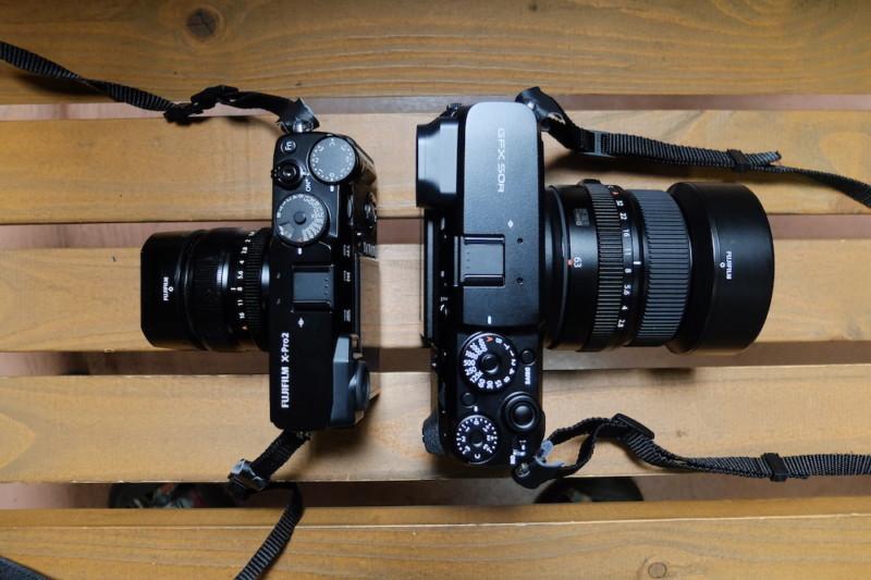 GFX50RとGF63mmF2.8|X-Pr2とのサイズ比較