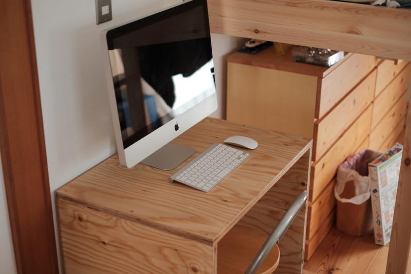 構造用合板1枚で作るiMac用デスク|iMac設置