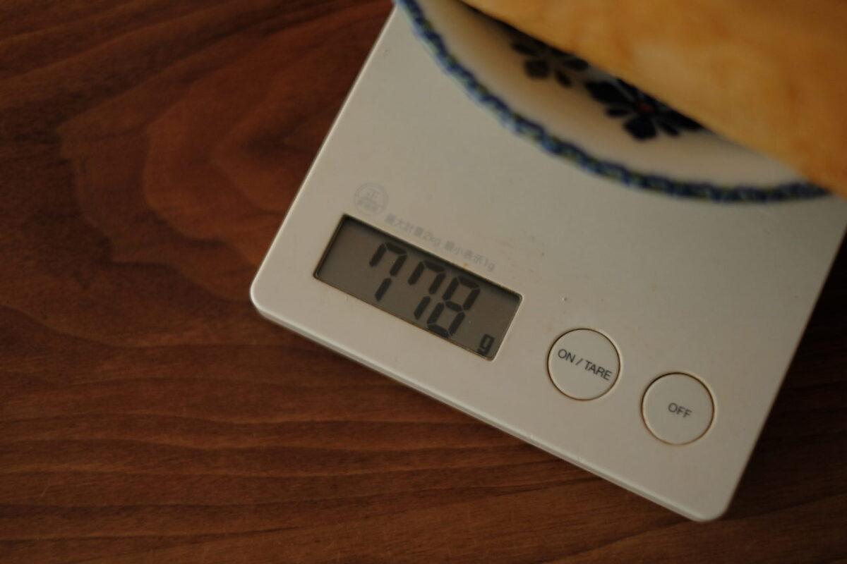 甘麹熟成食パン(AMACO CAFE) 重さ